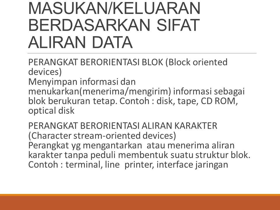 PERANGKAT MASUKAN/KELUARAN BERDASARKAN SIFAT ALIRAN DATA PERANGKAT BERORIENTASI BLOK (Block oriented devices) Menyimpan informasi dan menukarkan(mener
