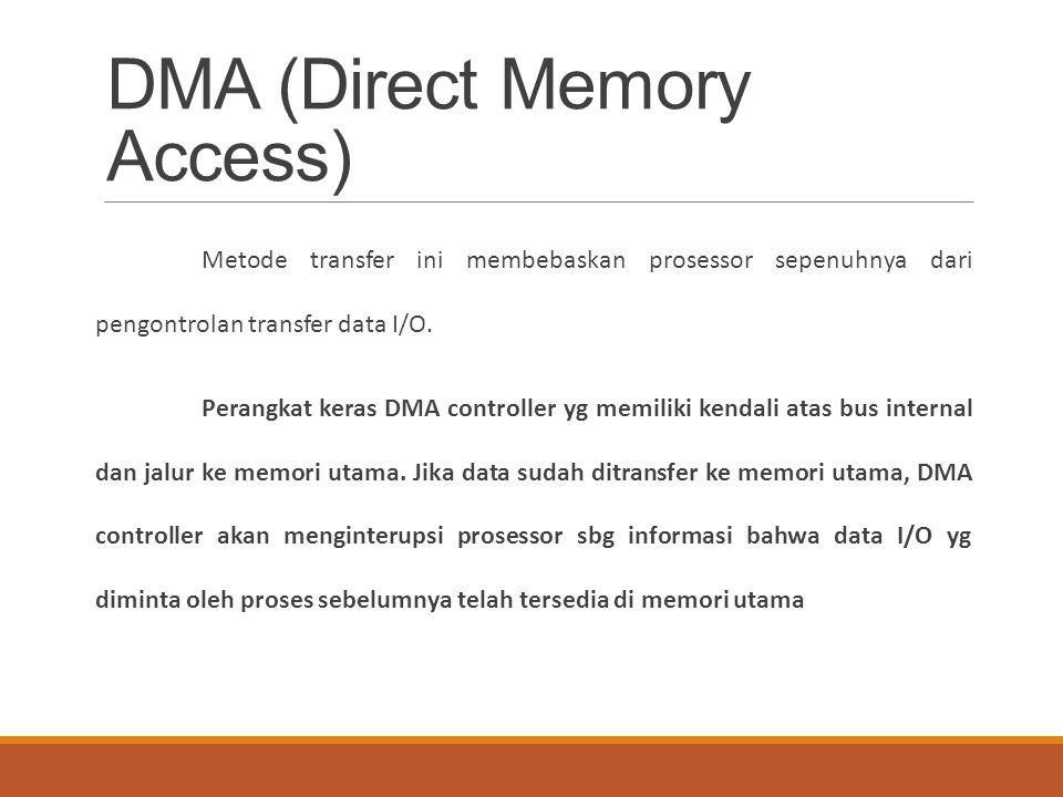DMA (Direct Memory Access) Metode transfer ini membebaskan prosessor sepenuhnya dari pengontrolan transfer data I/O. Perangkat keras DMA controller yg