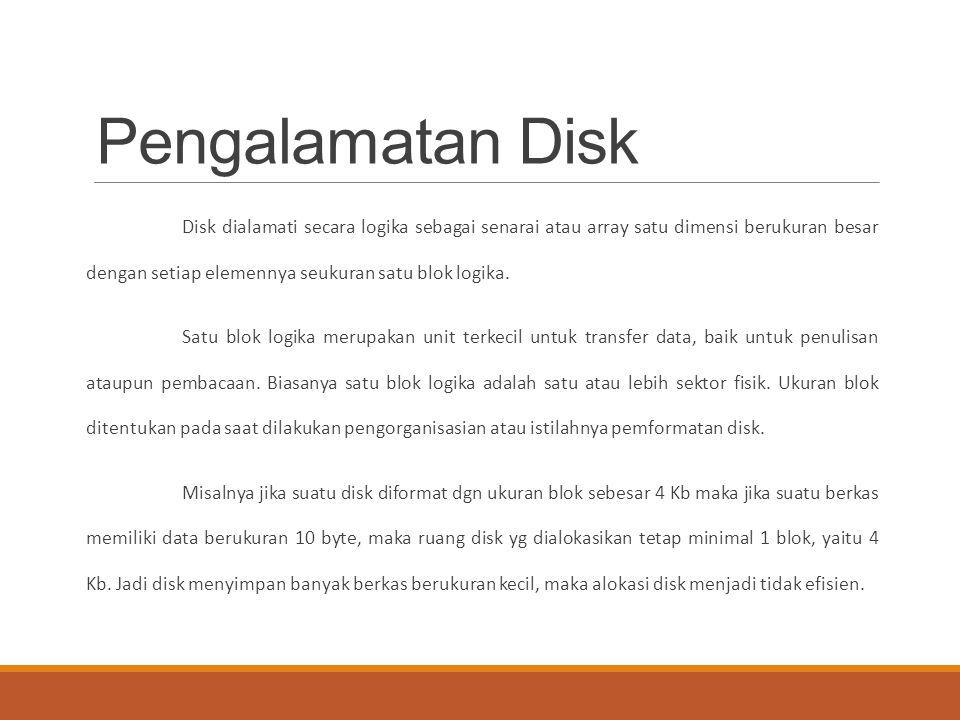 Pengalamatan Disk Disk dialamati secara logika sebagai senarai atau array satu dimensi berukuran besar dengan setiap elemennya seukuran satu blok logi