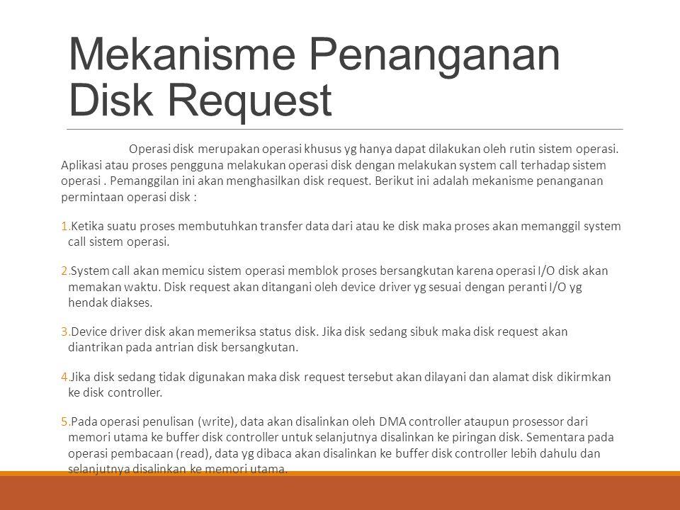 Mekanisme Penanganan Disk Request Operasi disk merupakan operasi khusus yg hanya dapat dilakukan oleh rutin sistem operasi. Aplikasi atau proses pengg