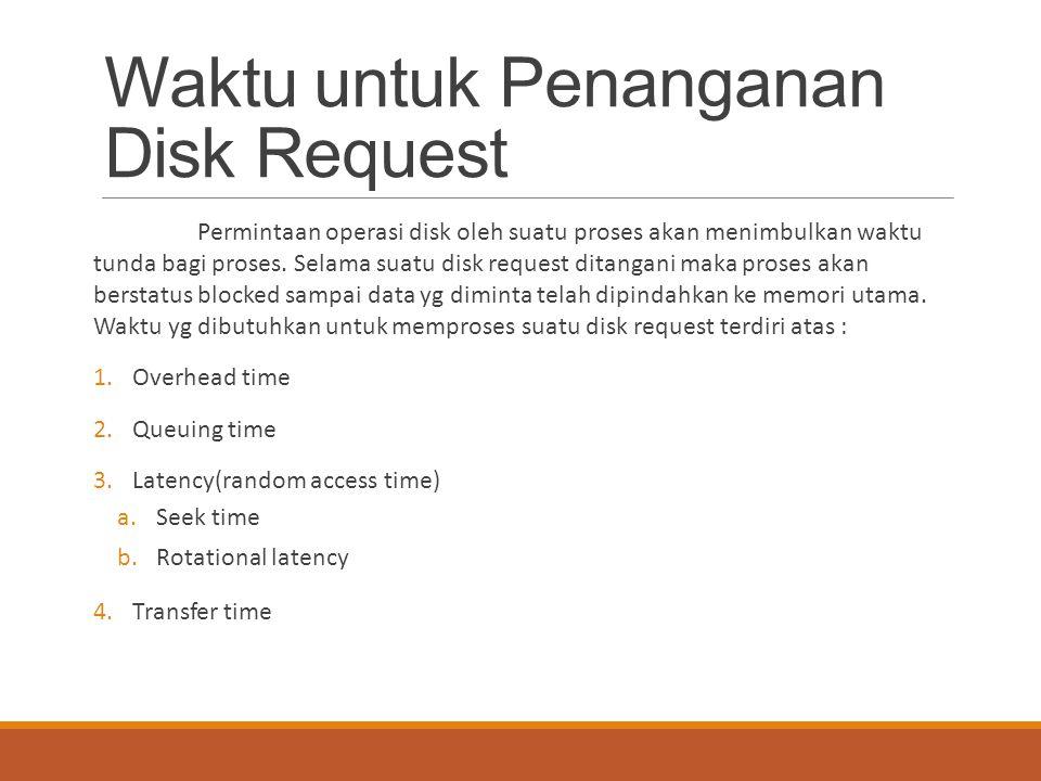 Waktu untuk Penanganan Disk Request Permintaan operasi disk oleh suatu proses akan menimbulkan waktu tunda bagi proses. Selama suatu disk request dita