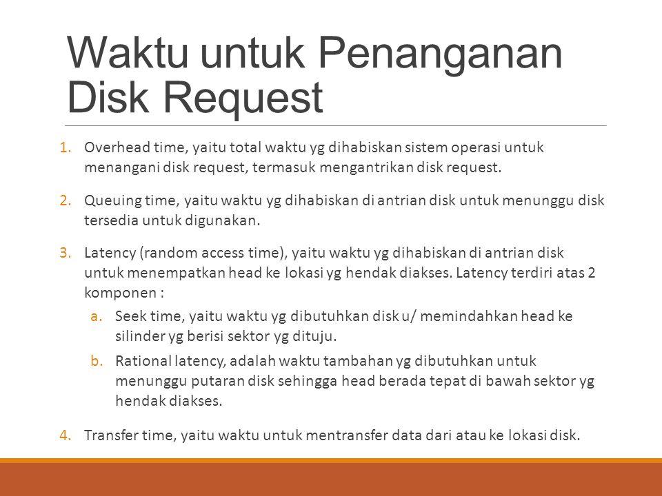 Waktu untuk Penanganan Disk Request 1.Overhead time, yaitu total waktu yg dihabiskan sistem operasi untuk menangani disk request, termasuk mengantrika