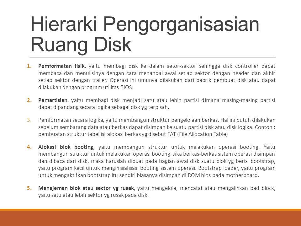 Hierarki Pengorganisasian Ruang Disk 1.Pemformatan fisik, yaitu membagi disk ke dalam setor-sektor sehingga disk controller dapat membaca dan menulisi
