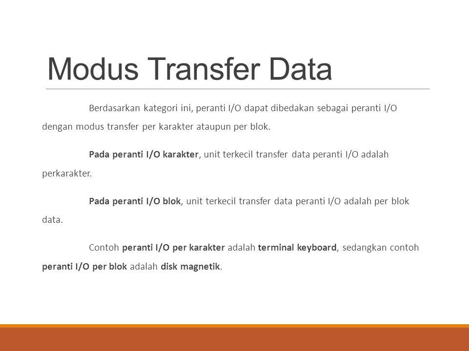 Modus Transfer Data Berdasarkan kategori ini, peranti I/O dapat dibedakan sebagai peranti I/O dengan modus transfer per karakter ataupun per blok. Pad