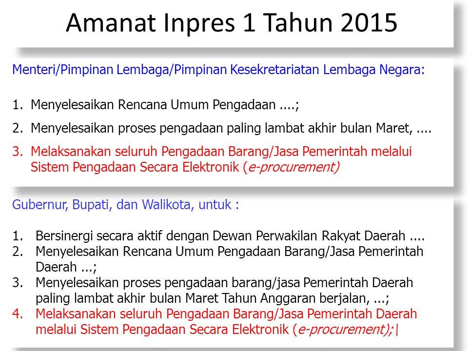 Amanat Inpres 1 Tahun 2015 Gubernur, Bupati, dan Walikota, untuk : 1.Bersinergi secara aktif dengan Dewan Perwakilan Rakyat Daerah.... 2.Menyelesaikan