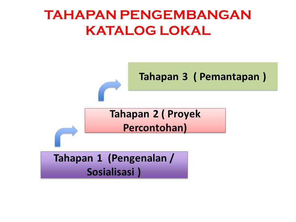 TAHAPAN PENGEMBANGAN KATALOG LOKAL Tahapan 1 (Pengenalan / Sosialisasi ) Tahapan 2 ( Proyek Percontohan) Tahapan 3 ( Pemantapan )