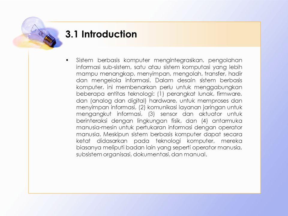 3.1 Introduction Sistem berbasis komputer mengintegrasikan, pengolahan informasi sub-sistem, satu atau sistem komputasi yang lebih mampu menangkap, menyimpan, mengolah, transfer, hadir dan mengelola informasi.