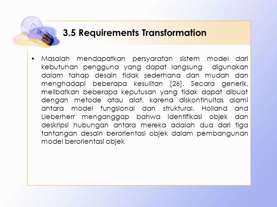 3.5 Requirements Transformation Masalah mendapatkan persyaratan sistem model dari kebutuhan pengguna yang dapat langsung digunakan dalam tahap desain tidak sederhana dan mudah dan menghadapi beberapa kesulitan [26].