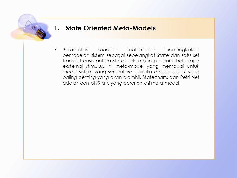1.State Oriented Meta-Models Berorientasi keadaan meta-model memungkinkan pemodelan sistem sebagai seperangkat State dan satu set transisi.