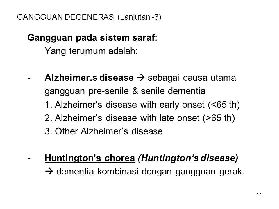 11 GANGGUAN DEGENERASI (Lanjutan -3) Gangguan pada sistem saraf: Yang terumum adalah: -Alzheimer.s disease  sebagai causa utama gangguan pre-senile &