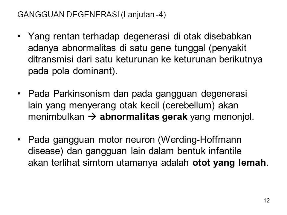 12 GANGGUAN DEGENERASI (Lanjutan -4) Yang rentan terhadap degenerasi di otak disebabkan adanya abnormalitas di satu gene tunggal (penyakit ditransmisi