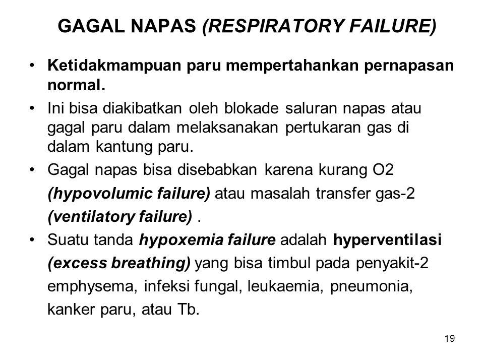 19 GAGAL NAPAS (RESPIRATORY FAILURE) Ketidakmampuan paru mempertahankan pernapasan normal. Ini bisa diakibatkan oleh blokade saluran napas atau gagal