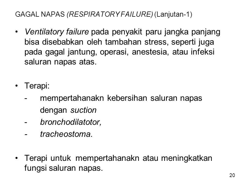20 GAGAL NAPAS (RESPIRATORY FAILURE) (Lanjutan-1) Ventilatory failure pada penyakit paru jangka panjang bisa disebabkan oleh tambahan stress, seperti