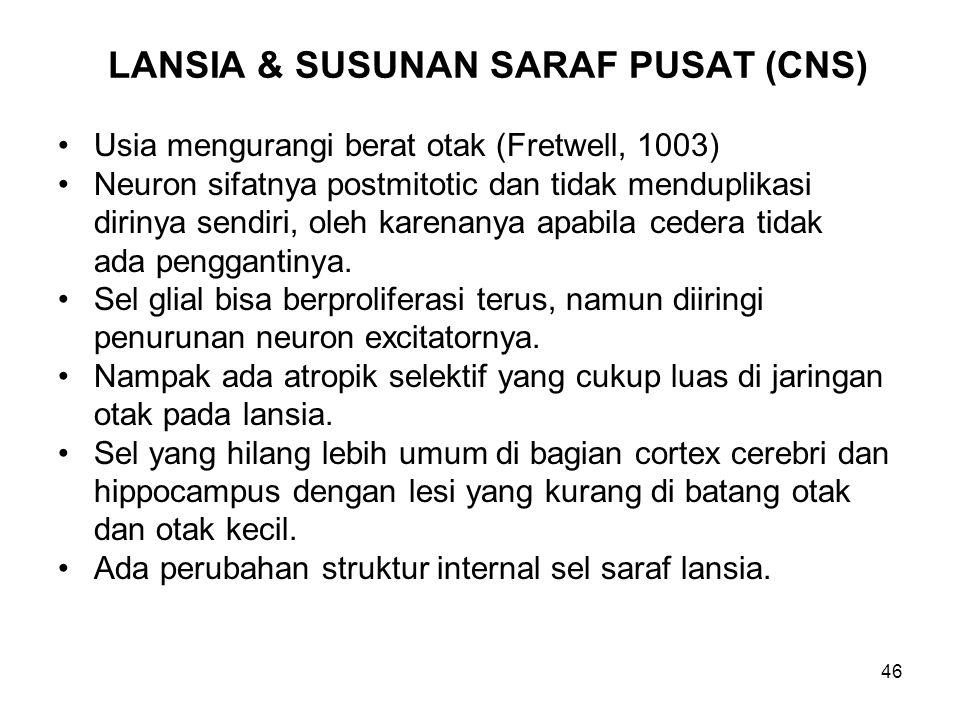 46 LANSIA & SUSUNAN SARAF PUSAT (CNS) Usia mengurangi berat otak (Fretwell, 1003) Neuron sifatnya postmitotic dan tidak menduplikasi dirinya sendiri,
