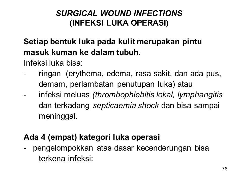 78 SURGICAL WOUND INFECTIONS (INFEKSI LUKA OPERASI) Setiap bentuk luka pada kulit merupakan pintu masuk kuman ke dalam tubuh. Infeksi luka bisa: -ring