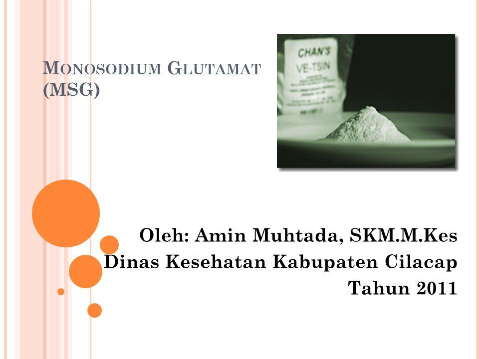 M ONOSODIUM G LUTAMAT (MSG) Oleh: Amin Muhtada, SKM.M.Kes Dinas Kesehatan Kabupaten Cilacap Tahun 2011