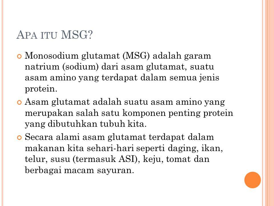A PA ITU MSG? Monosodium glutamat (MSG) adalah garam natrium (sodium) dari asam glutamat, suatu asam amino yang terdapat dalam semua jenis protein. As