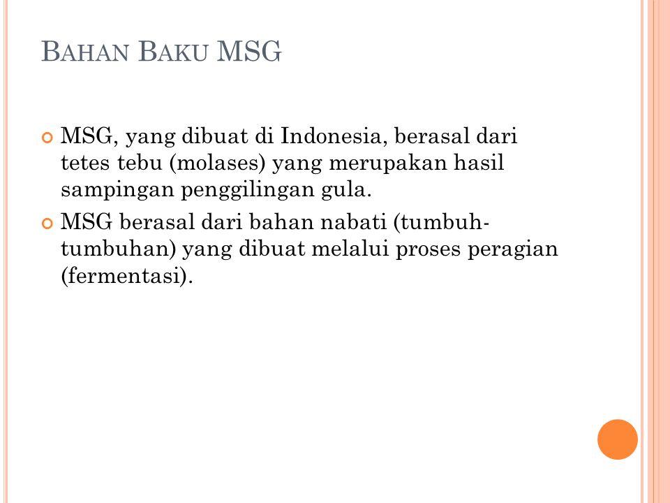 B AHAN B AKU MSG MSG, yang dibuat di Indonesia, berasal dari tetes tebu (molases) yang merupakan hasil sampingan penggilingan gula. MSG berasal dari b