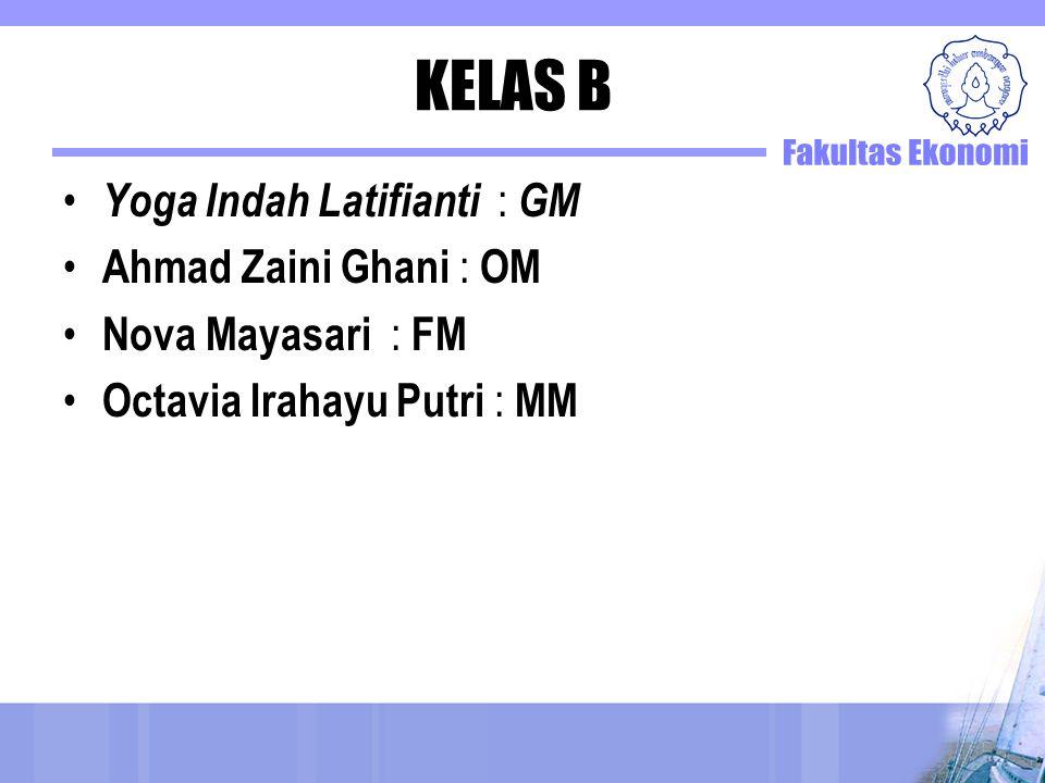 KELAS B Yoga Indah Latifianti : GM Ahmad Zaini Ghani : OM Nova Mayasari : FM Octavia Irahayu Putri : MM