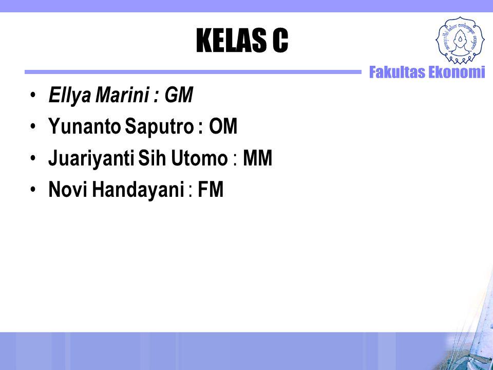 KELAS C Ellya Marini : GM Yunanto Saputro : OM Juariyanti Sih Utomo : MM Novi Handayani : FM