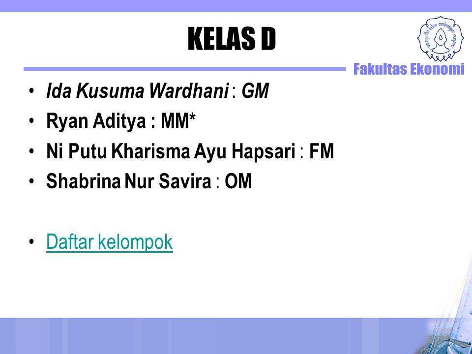 KELAS D Ida Kusuma Wardhani : GM Ryan Aditya : MM* Ni Putu Kharisma Ayu Hapsari : FM Shabrina Nur Savira : OM Daftar kelompok