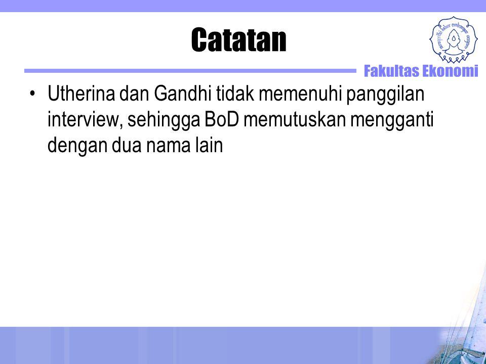 Catatan Utherina dan Gandhi tidak memenuhi panggilan interview, sehingga BoD memutuskan mengganti dengan dua nama lain