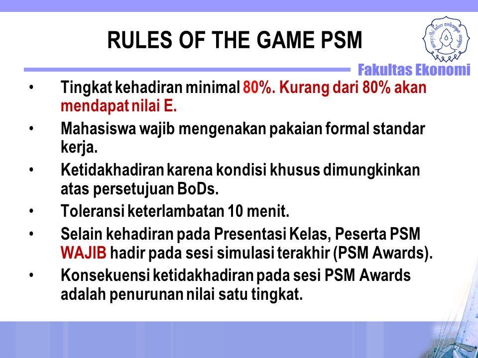 RULES OF THE GAME PSM Tingkat kehadiran minimal 80%. Kurang dari 80% akan mendapat nilai E. Mahasiswa wajib mengenakan pakaian formal standar kerja. K