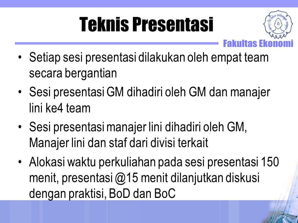 Teknis Presentasi Setiap sesi presentasi dilakukan oleh empat team secara bergantian Sesi presentasi GM dihadiri oleh GM dan manajer lini ke4 team Ses