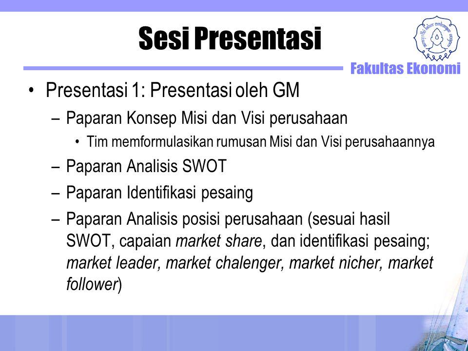 Sesi Presentasi Presentasi 1: Presentasi oleh GM –Paparan Konsep Misi dan Visi perusahaan Tim memformulasikan rumusan Misi dan Visi perusahaannya –Pap