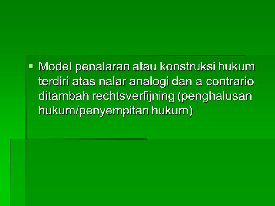  Model penalaran atau konstruksi hukum terdiri atas nalar analogi dan a contrario ditambah rechtsverfijning (penghalusan hukum/penyempitan hukum)
