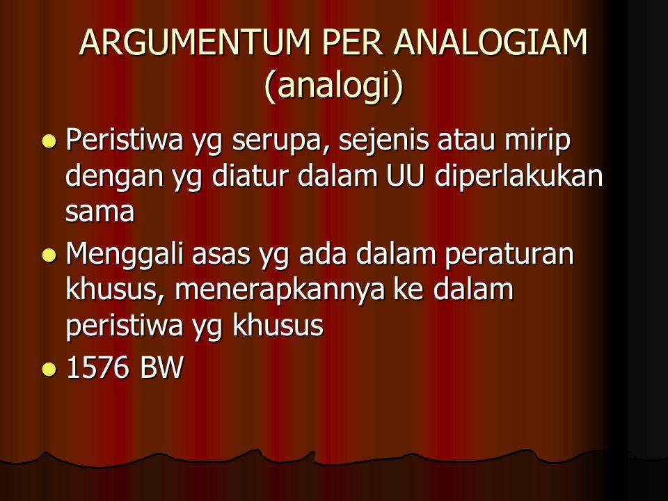 ARGUMENTUM PER ANALOGIAM (analogi) Peristiwa yg serupa, sejenis atau mirip dengan yg diatur dalam UU diperlakukan sama Peristiwa yg serupa, sejenis atau mirip dengan yg diatur dalam UU diperlakukan sama Menggali asas yg ada dalam peraturan khusus, menerapkannya ke dalam peristiwa yg khusus Menggali asas yg ada dalam peraturan khusus, menerapkannya ke dalam peristiwa yg khusus 1576 BW 1576 BW