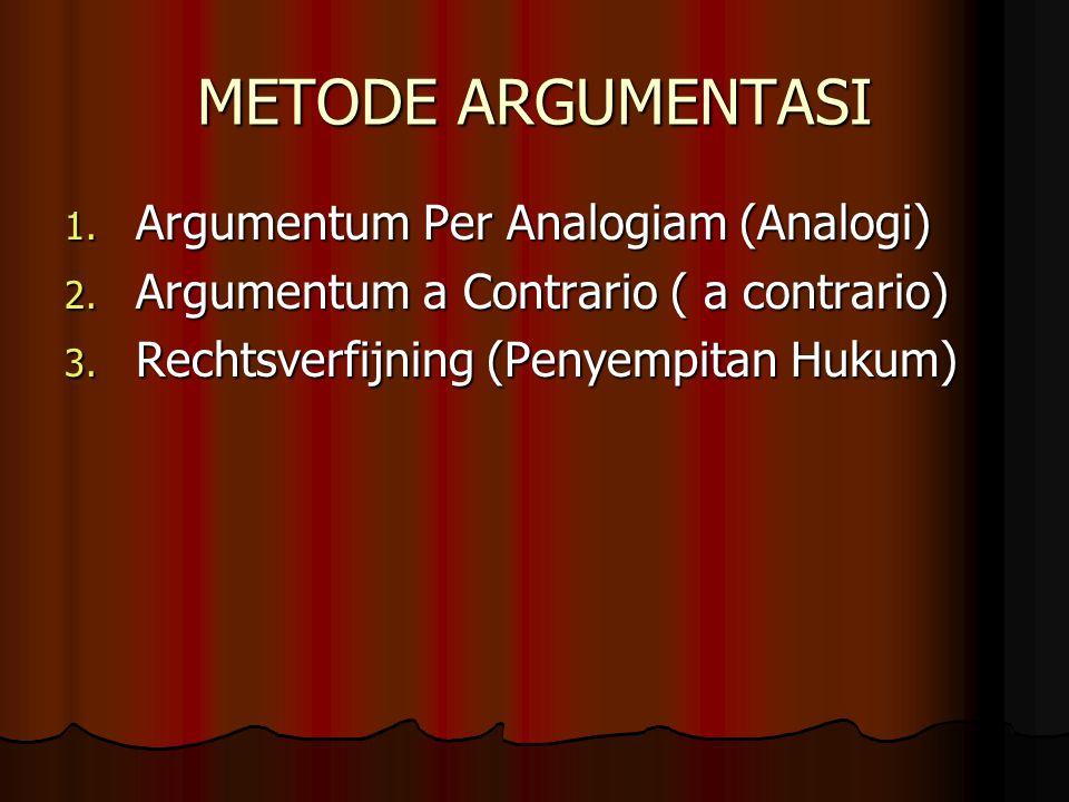 METODE ARGUMENTASI 1.Argumentum Per Analogiam (Analogi) 2.
