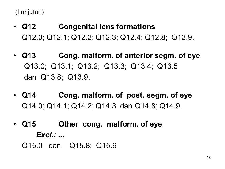 (Lanjutan) Q12Congenital lens formations Q12.0; Q12.1; Q12.2; Q12.3; Q12.4; Q12.8; Q12.9. Q13Cong. malform. of anterior segm. of eye Q13.0; Q13.1; Q13