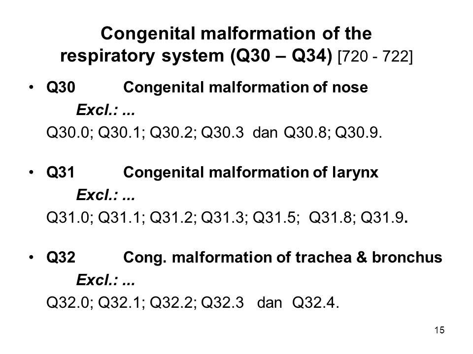 Congenital malformation of the respiratory system (Q30 – Q34) [720 - 722] Q30Congenital malformation of nose Excl.:... Q30.0; Q30.1; Q30.2; Q30.3 dan