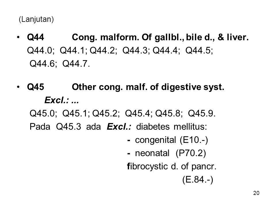 (Lanjutan) Q44Cong. malform. Of gallbl., bile d., & liver. Q44.0; Q44.1; Q44.2; Q44.3; Q44.4; Q44.5; Q44.6; Q44.7. Q45Other cong. malf. of digestive s
