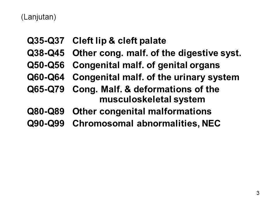 (Lanjutan) Q35-Q37 Cleft lip & cleft palate Q38-Q45 Other cong. malf. of the digestive syst. Q50-Q56 Congenital malf. of genital organs Q60-Q64 Congen