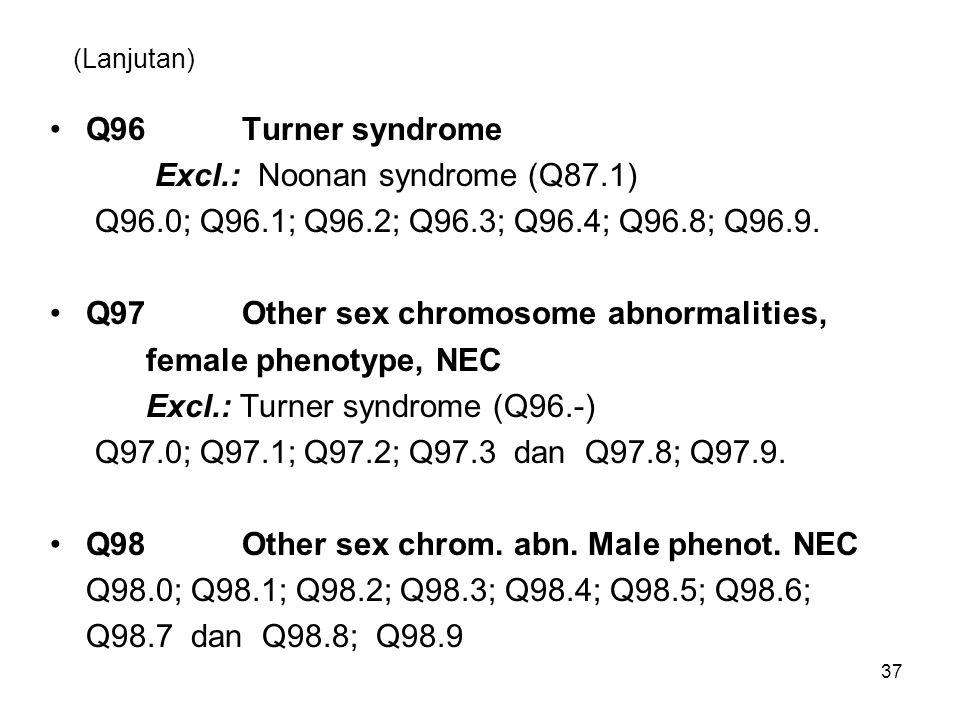 (Lanjutan) Q96Turner syndrome Excl.: Noonan syndrome (Q87.1) Q96.0; Q96.1; Q96.2; Q96.3; Q96.4; Q96.8; Q96.9. Q97Other sex chromosome abnormalities, f