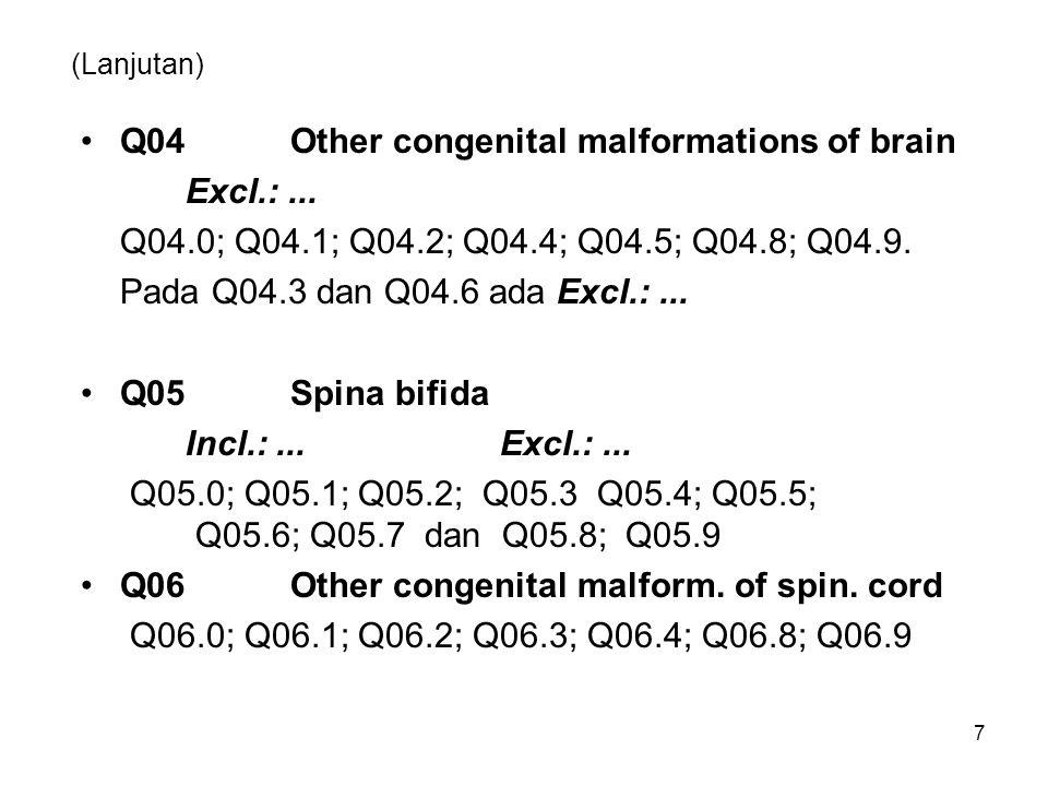 (Lanjutan) Q04Other congenital malformations of brain Excl.:... Q04.0; Q04.1; Q04.2; Q04.4; Q04.5; Q04.8; Q04.9. Pada Q04.3 dan Q04.6 ada Excl.:... Q0