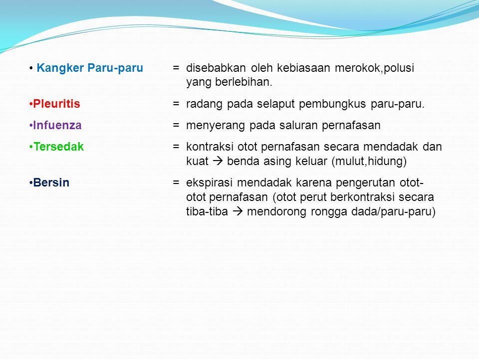 Kangker Paru-paru= disebabkan oleh kebiasaan merokok,polusi yang berlebihan. Pleuritis= radang pada selaput pembungkus paru-paru. Infuenza= menyerang