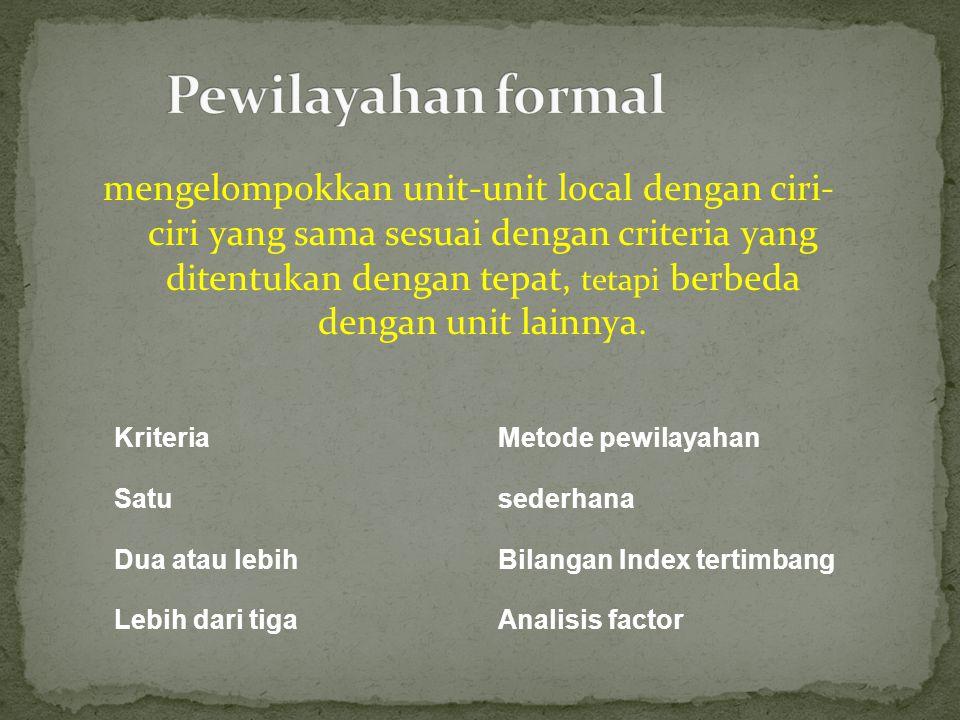 mengelompokkan unit-unit local dengan ciri- ciri yang sama sesuai dengan criteria yang ditentukan dengan tepat, tetapi berbeda dengan unit lainnya. Kr