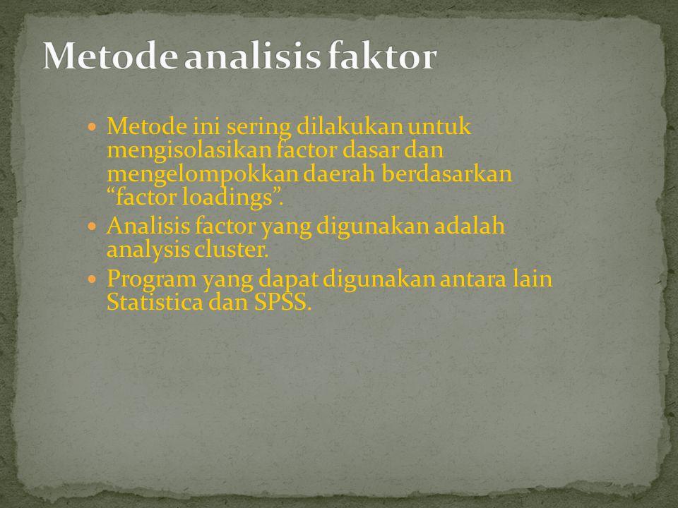 """Metode ini sering dilakukan untuk mengisolasikan factor dasar dan mengelompokkan daerah berdasarkan """"factor loadings"""". Analisis factor yang digunakan"""