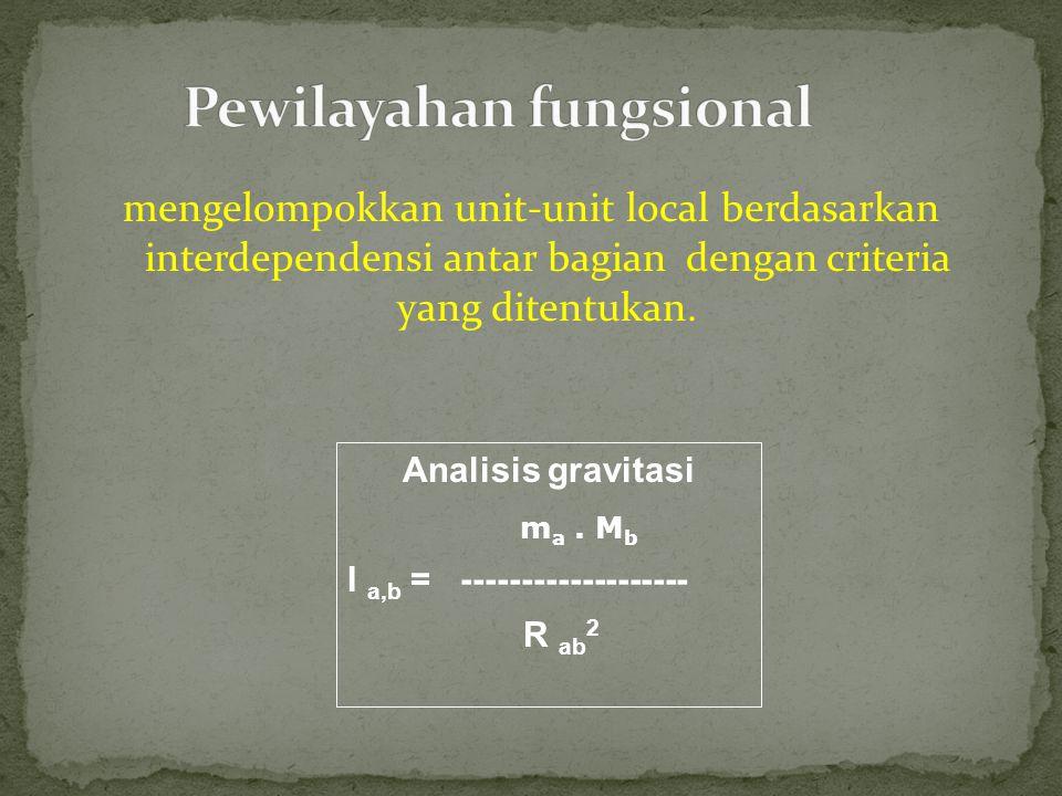 mengelompokkan unit-unit local berdasarkan interdependensi antar bagian dengan criteria yang ditentukan. Analisis gravitasi m a. M b I a,b = ---------