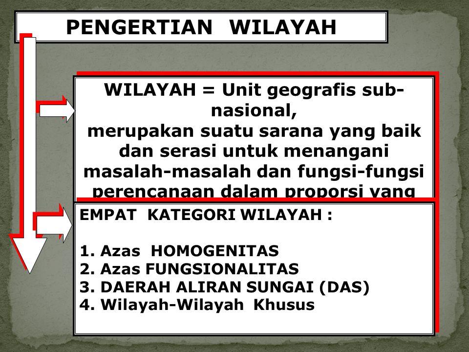PENGERTIAN WILAYAH WILAYAH = Unit geografis sub- nasional, merupakan suatu sarana yang baik dan serasi untuk menangani masalah-masalah dan fungsi-fung