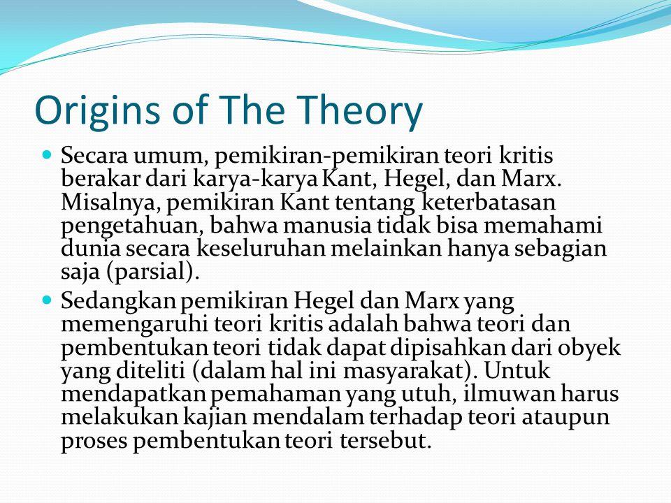 Salah satu tokoh teori kritis, Horkheimer, membedakan teori ke dalam dua kategori, yakni tradisional dan kritis.