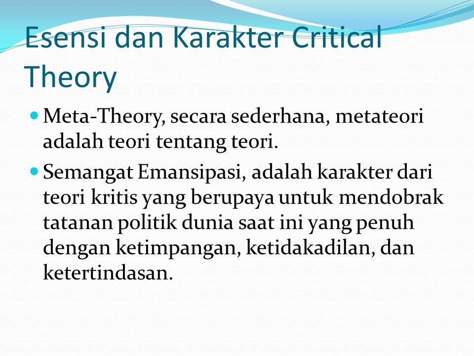 Esensi dan Karakter Critical Theory Meta-Theory, secara sederhana, metateori adalah teori tentang teori.