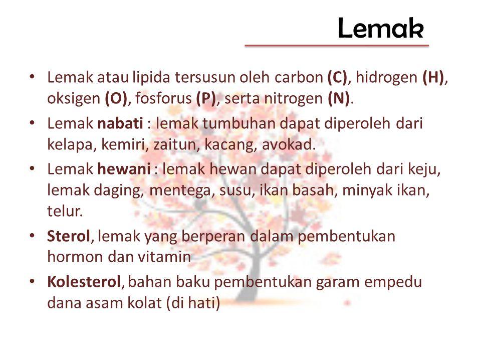 Lemak Lemak atau lipida tersusun oleh carbon (C), hidrogen (H), oksigen (O), fosforus (P), serta nitrogen (N). Lemak nabati : lemak tumbuhan dapat dip