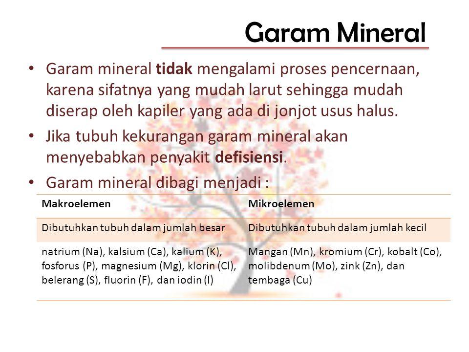 Garam Mineral Garam mineral tidak mengalami proses pencernaan, karena sifatnya yang mudah larut sehingga mudah diserap oleh kapiler yang ada di jonjot