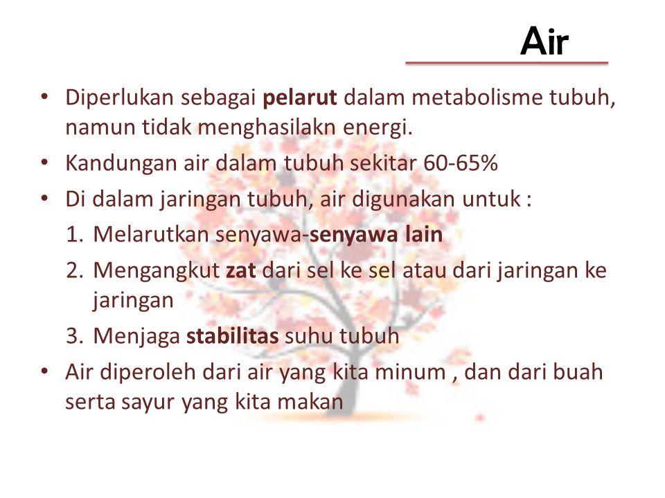Air Diperlukan sebagai pelarut dalam metabolisme tubuh, namun tidak menghasilakn energi. Kandungan air dalam tubuh sekitar 60-65% Di dalam jaringan tu