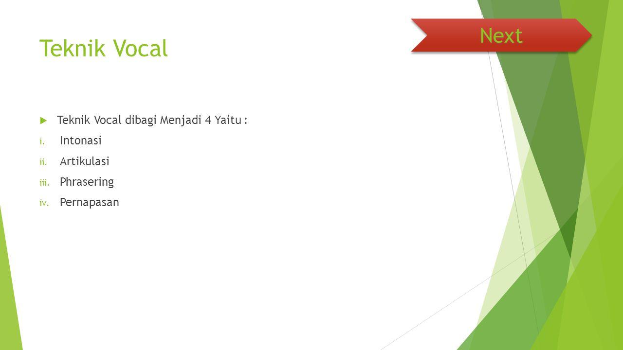 Teknik Vocal  Teknik Vocal dibagi Menjadi 4 Yaitu : i. Intonasi ii. Artikulasi iii. Phrasering iv. Pernapasan Next