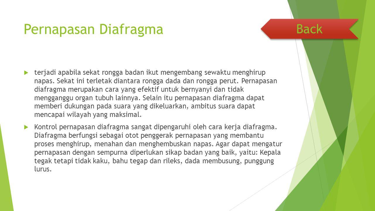 Pernapasan Diafragma  terjadi apabila sekat rongga badan ikut mengembang sewaktu menghirup napas. Sekat ini terletak diantara rongga dada dan rongga
